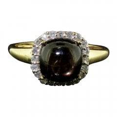 Vintage 9ct Gold Brown Star Sapphire and Diamond Cluster Ring