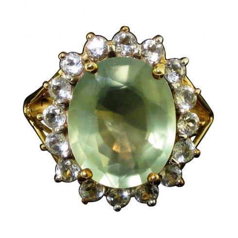 Vintage 9ct Gold Chrysoprase and White Sapphire Ring