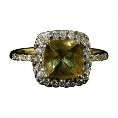 Vintage 9ct Gold Citrine and Diamond Cluster Ring