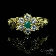 Vintage 9ct Gold Cubic Zirconia & Chryosoprase Ring