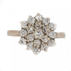 Vintage 9ct Gold Cubic Zirconia Cluster Ring