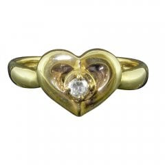 Vintage 9ct Gold Cubic Zirconia Heart Ring