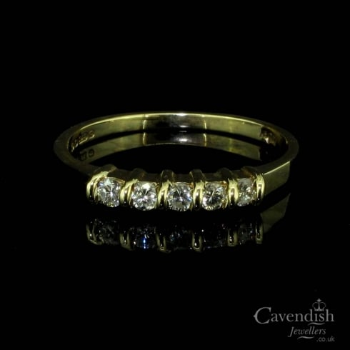 Vintage 9ct Gold Diamond Five Stone Ring