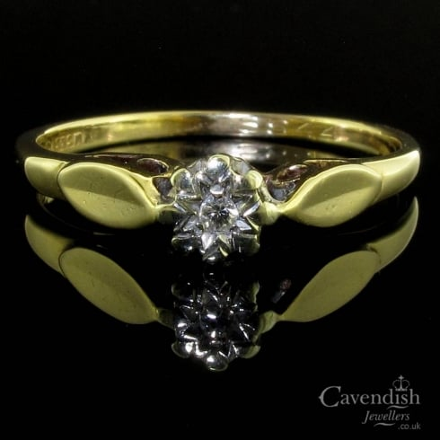 Vintage 9ct Gold Diamond Solitaire Ring