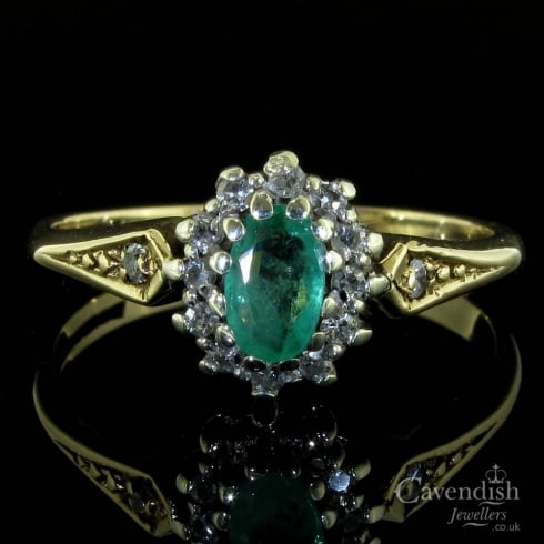 Vintage 9ct Gold Emerald & Diamond Cluster Ring