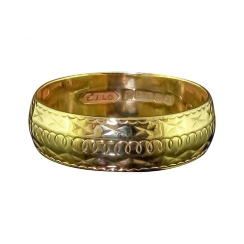 Vintage 9ct Gold Engraved Band Ring