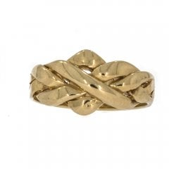 Vintage 9ct Gold Four Row Puzzle Ring