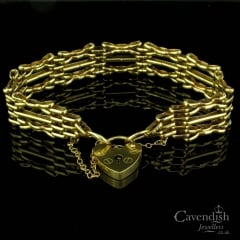 Vintage 9ct Gold Gate Bracelet With Heart Padlock