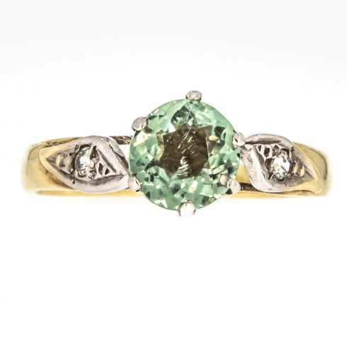 Vintage 9ct Gold Green Tourmaline and White Topaz Ring