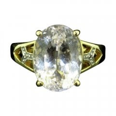 Vintage 9ct Gold Kunzite and Diamond Ring