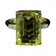 Vintage 9ct Gold Lemon Quartz And Diamond Dress Ring