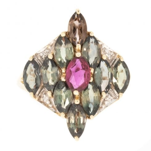 Vintage 9ct Gold Marquise Cut Green Sapphire Ruby Diamond Ring