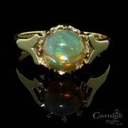 Vintage 9ct Gold Natural Opal Solitaire Ring