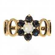 Vintage 9ct Gold Opal And Sapphire Cluster Ring