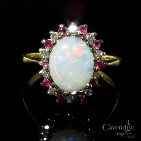 Vintage 9ct Gold Opal, Ruby & Diamond Cluster Ring