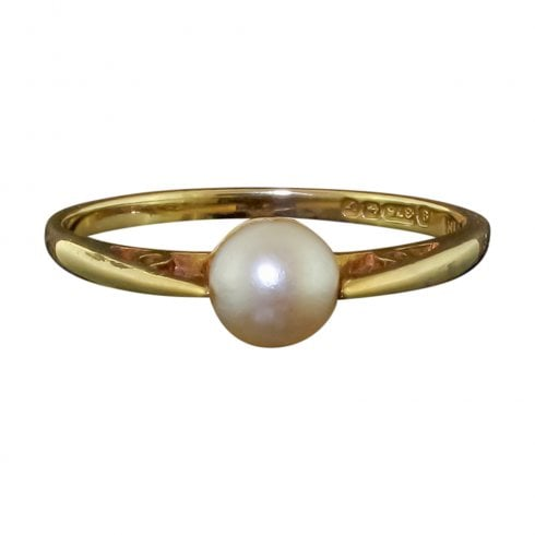 Vintage 9ct Gold Pearl Solitaire Ring