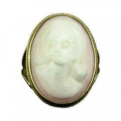 Vintage 9ct Gold Pink Cameo Ring