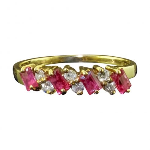 Vintage 9ct Gold Ruby and Diamond Half Hoop Ring