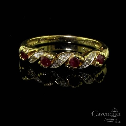 Vintage 9ct Gold Ruby & Diamond Half Eternity Ring