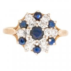 Vintage 9ct Gold Sapphire and Cubic Zirconia Cluster Ring