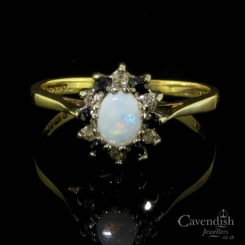 Vintage 9ct Gold Sapphire, Opal & Diamond Cluster Ring