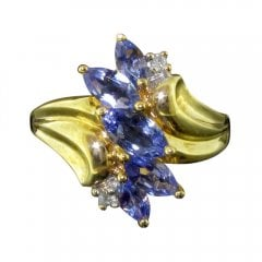 Vintage 9ct Gold Tanzanite and Diamond Cluster Ring