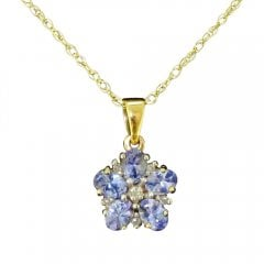 Vintage 9ct Gold Tanzanite And Diamond Floral Pendant Necklace