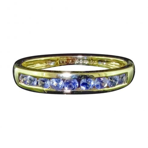 Vintage 9ct Gold Tanzanite Half Hoop Ring