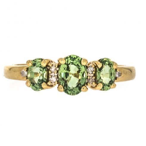Vintage 9ct Gold Tourmaline And Diamond Trilogy Ring