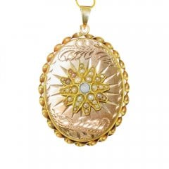 Vintage 9ct Gold Turquoise & Pearl Locket