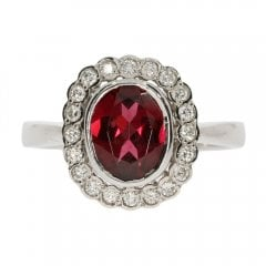 Vintage 9ct White Gold Rhodalite Garnet and Diamond Cluster Ring