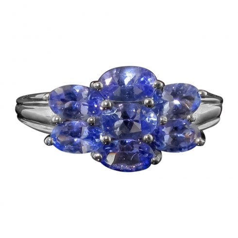 Vintage 9ct White Gold Tanzanite Cluster Ring
