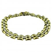 Vintage 9ct Yellow And White Gold Panther Link Bracelet