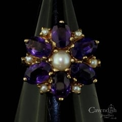 Vintage 9ct Yellow Gold, Amethyst And Pearl Flower Cluster Ring