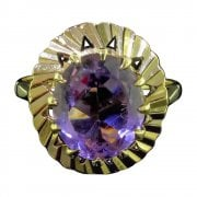 Vintage 9ct Yellow Gold Amethyst Dress Ring