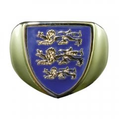 Vintage 9ct Yellow Gold Blue Enamel England Crest Signet Ring