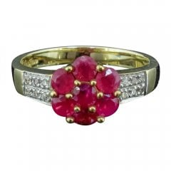 Vintage 9ct Yellow Gold Ruby And Diamond Cluster Ring