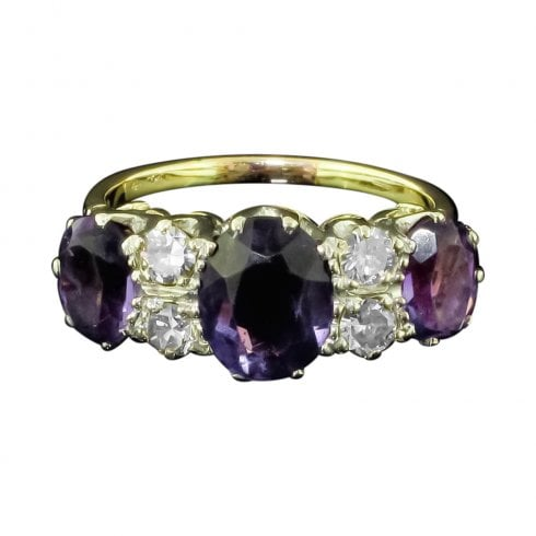 Vintage Amethyst And Diamond 7 Stone Ring