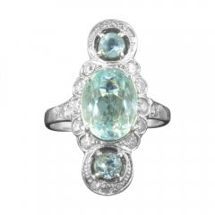 Vintage Aquamarine and Diamond Dress Ring