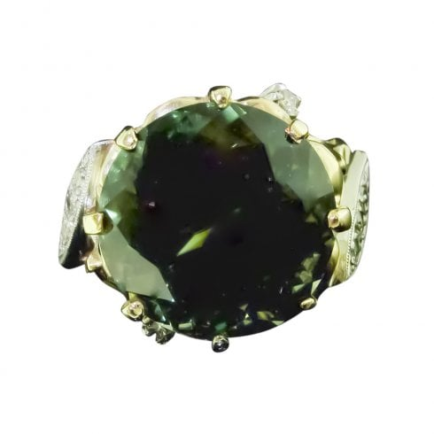 Vintage Brilliant Cut Tourmaline And Diamond Ring