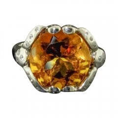 Vintage Citrine and Cubic Zirconia Solitaire Ring