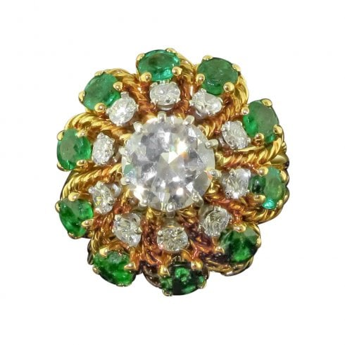 Vintage Diamond and Emerald Cluster Ring