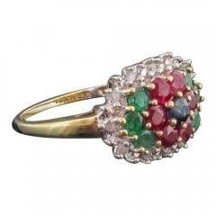 Vintage Emerald Sapphire Ruby and Diamond Cluster Ring