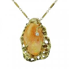 Vintage Fire Opal And Diamond Pendant Necklace