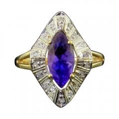 Vintage Gold Amethyst and Diamond Marquise Ring