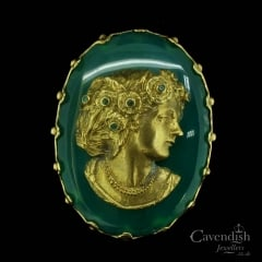Vintage Gold Aventurine and Emerald Brooch