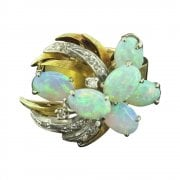 Vintage Gold Diamond and Opal Cocktail Ring