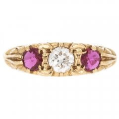 Vintage Gold Diamond & Garnet Trilogy Ring