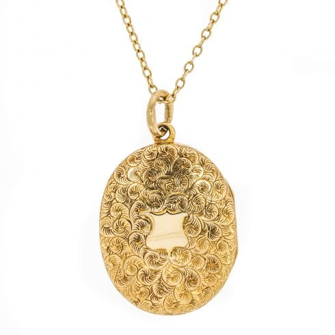 Vintage Gold Engraved Locket With Chain