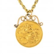 Vintage Gold Full Soverign Pendant With gold Rope Chain